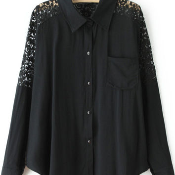 Black Long Sleeve Sheer Lace Cut-Out Blouse