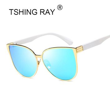 TSHING RAY New Oversized Cat Eye Women Sunglasses Fashion Female Mirror Sun Glasses Vintage Shades European Style Sunglases