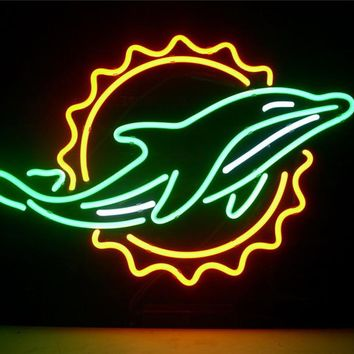 NEON SIGN For miami dolphin  Signboard REAL GLASS BEER BAR PUB  display  outdoor Light Signs 17*14""