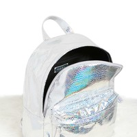 Holographic Top-Zip Backpack
