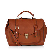 Double Belted Satchel Bag | Brown | Accessorize