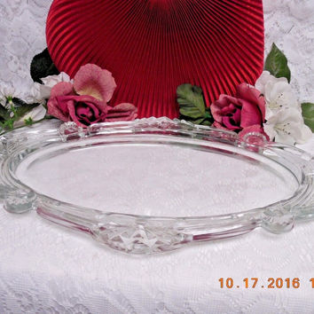 "Vintage Heavy Glass Dresser Vanity Tray Scrolls on Rim and Handles 17"" long"