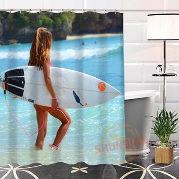 Best Nice Custom Surfing Lady Shower Curtain Bath Curtain Waterproof Fabric For Bathroom MORE SIZE WJY#95