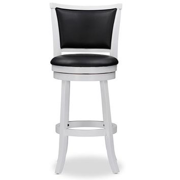 Baxton Studio Kasey White Solid Wood Swivel Bar Stool with Black Faux Leather Seat Set of 2