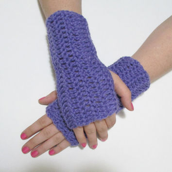 Purple Wrist Warmers, Crochet Simple Fingerless Gloves, FREE US SHIPPING, Driving Gloves, Texting Gloves, Christmas Gift, Orchid