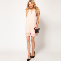 Pink Strappy Chiffon Layer Dress