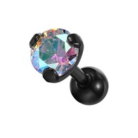 BodyJ4You Tragus Earring Stud Black with Aurora Gem Cartilage Earring 16G [Jewelry]