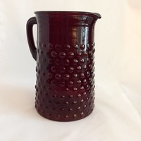 Ruby Hobnail Pitcher, Anchor Hocking Red Hobnail Pitcher, Vintage Lemonade Pitcher, Iced Tea Pitcher
