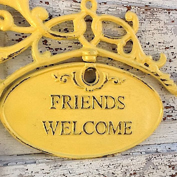 Friends Welcome Sign Summer Yellow Chippy and by CamillaCotton