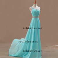 New 2014 Prom Dresses, Custom Long Sleeveless One Shoulder Blue Formal Prom Dresses Party Dresses
