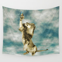 The Lion and the Butterfly Wall Tapestry by Octavia Soldani