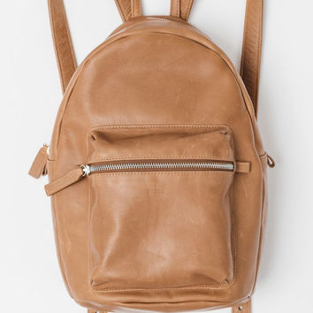 Leather Backpack: Saddle
