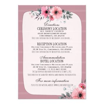 Pink Watercolor Floral Wedding Details Information Card