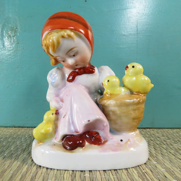 Girl With Basket of Chicks Porcelain Figurine Occupied Japan