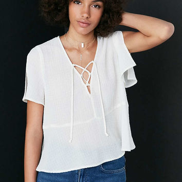 Kimchi Blue Lucy Lace-Up Babydoll Blouse - Urban Outfitters