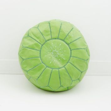 Moroccan Leather Pouf, Pistachio