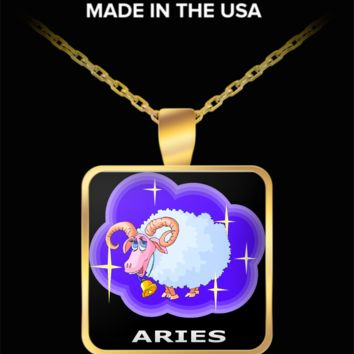 Zodiac Aries Ram Square Pendant Necklace