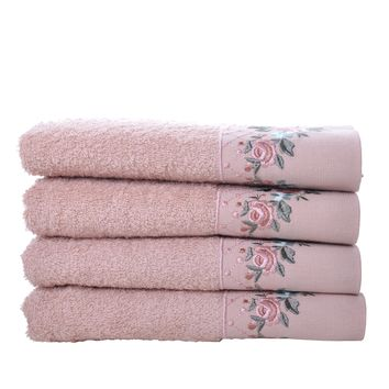 Minteks Anemon Collection Turkish Decorative Hand Towel Sets   Embroidered Towels with Lace Trim