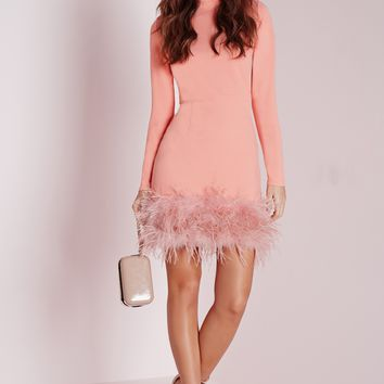 Missguided - High Neck Feather Trim Bodycon Dress Rose Pink