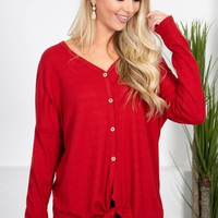 Lisa Button-Up Knot Top | REd