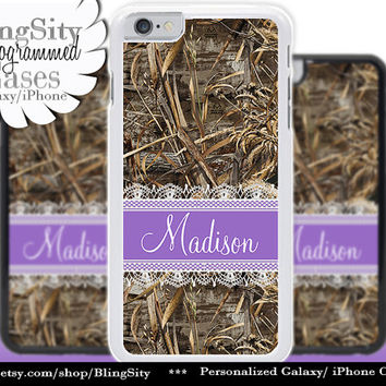 Camo Purple Monogram iPhone 5C 6 Case Plus Lace iPhone 5s 4 case Ipod Hunting Realtree Custom Name Personalized Country Inspired Girl
