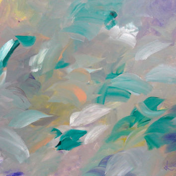 Emerald Flutter Original Art Abstract Painting Acrylic on 16x20 Canvas Purple and Green