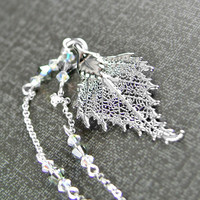 Genuine Birch Leaf Necklace Sterling Silver Chain Lacey Birch Leaf Pendant Necklace Botanical Nature Autumn Silver Leaf Necklace