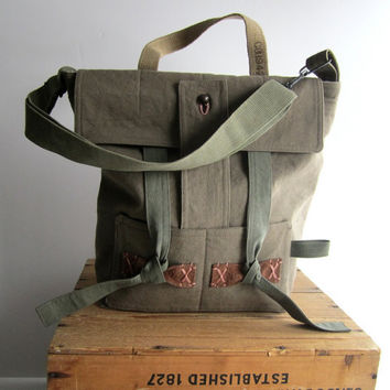Carryall Rustic ticking Messenger Bag by campwilder on Etsy