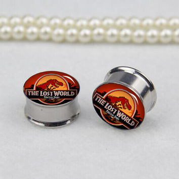 Pairs 2pcs  los  word ear  plugs ,flash Tunnel  Gauge Body Jewelry  ,silver   Titanium ear plugs, screw on ear plugs,0g,00g ,2g  gauges,