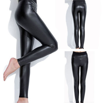 New Fashion Winter Women's Plus Size Lace PU Leather Cotton Comfort Stretch Fleece Lined Thick Tights Stirrup Long Pants Nine Point Leggings (Size: One Size, Color: Black) = 1715757572