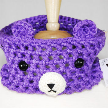Purple Bear Crochet Cowl - Crochet Cowl - Crochet Scarf - Neck Warmer- Kawaii - Unique Cowl- Women Scarf- Bear scarf - Animal Scarf