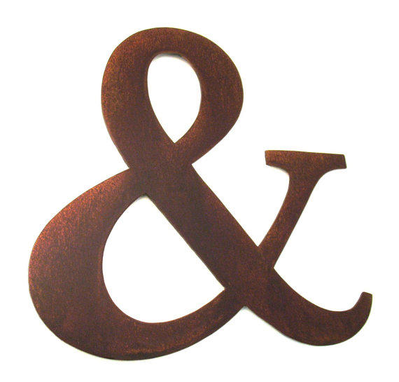 Metal ampersand sign letter rusty from georgiametalart for Ampersand decor