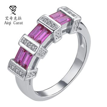 AIQICARAT Female Heart Ring Fashion Style Purple Yellow CZ  Zircon Jewelry Vintage Wedding Rings For Women Girlfriend Gifts