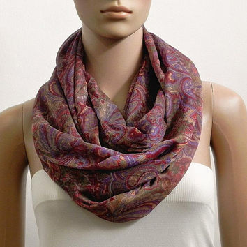 Red Purple Infinity Scarf Shawl Printed Paisley Fashion Scarves for Women Circle Cowl Scarf Tube Scarf Summer Scarf Gift for her Handmade