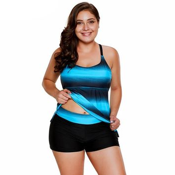 Plus Size Two Pieces Blue Red Gradient Tankini Swimwear Bathing Suit Swimsuits