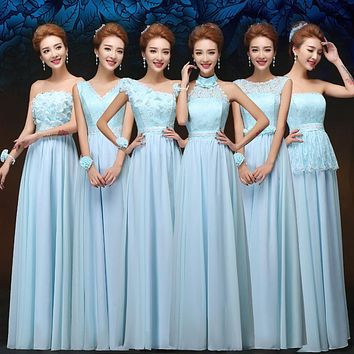 Long Sky Blue Bridesmaid Dress Cheap Under 50 Fashion Chiffon Lace Elegant Dresses For Wedding Party Dresses Greek Goddess Dress
