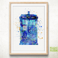 TARDIS, Doctor Who - Watercolor, Art Print, Home Wall decor, Watercolor Print, Doctor Who Poster
