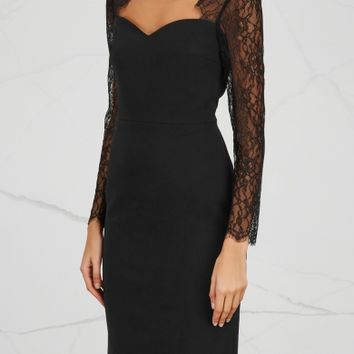 Alice + Olivia Helga cut-out lace and crepe dress