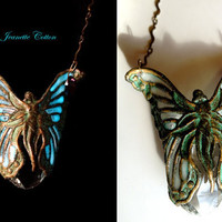 Fairy Angel Mine...Filigree Ethereal Angel Butterfly Fairy...SHE GLOWS...Amethyst Swarovski Heart Crystal Pendant/Necklace