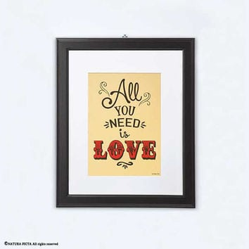 All you need is love print-All you need is love gold print-song lyric print-home decor-typography print-wedding print-NATURA PICTA-NPGP14