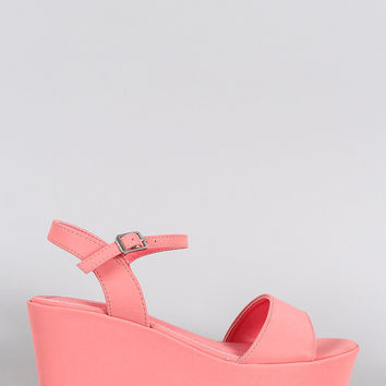 Bamboo Nubuck Open Toe Platform Wedge