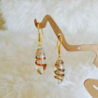Golden Venetian Glass Bead Earrings - Handmade, Gold Spiral, Vintage Beads, Murano Glass, Clear Bead, Gold Tone, Summer, Chic, Italian