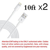 Eaglewood(TM) 2PCs Extra Long Extended 10 Feet 3M 8 Pin Data Sync&Charging Cable USB Charger Cord Wire for iPhone 5 5s 5c iPod Touch Nano 7th Gen (White)