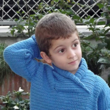 Bad boy, sweater, crochet, child, baby, male, handmade, made in italy, acrylic, v neck, 3, 6, 12, 18, 24 months