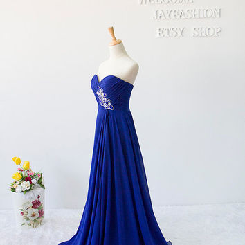 Royal Blue Sweetheart Long Prom Dress Fashion Bridesmaid Dress/New Years Dress Wedding Party/Hot Party Dress Homecoming/Evening Dress
