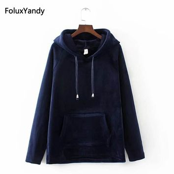 Velour Hoodie Women Plus Size 3 4 XL Casual Pockets Loose Autumn Long Sleeve Sweatshirts Blue Black Red KKFY443