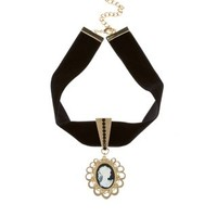 New Look Mobile | Black Velvet Antique Cameo Choker