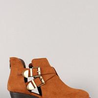 Qupid Trevor-48 Buckle Perforated Cut Out Ankle Bootie