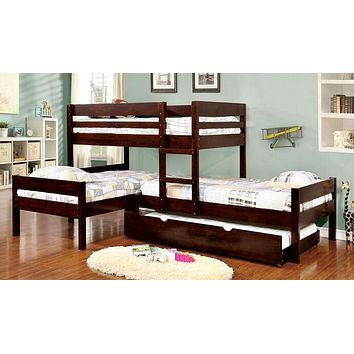 Charlotte Dark Wood Corner Triple Bunk Bed