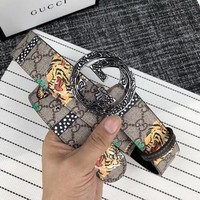 GUCCI Newest Fashion Woman Men Personality Tiger Pattern Double G Buckle Leather Belt I13860-1
